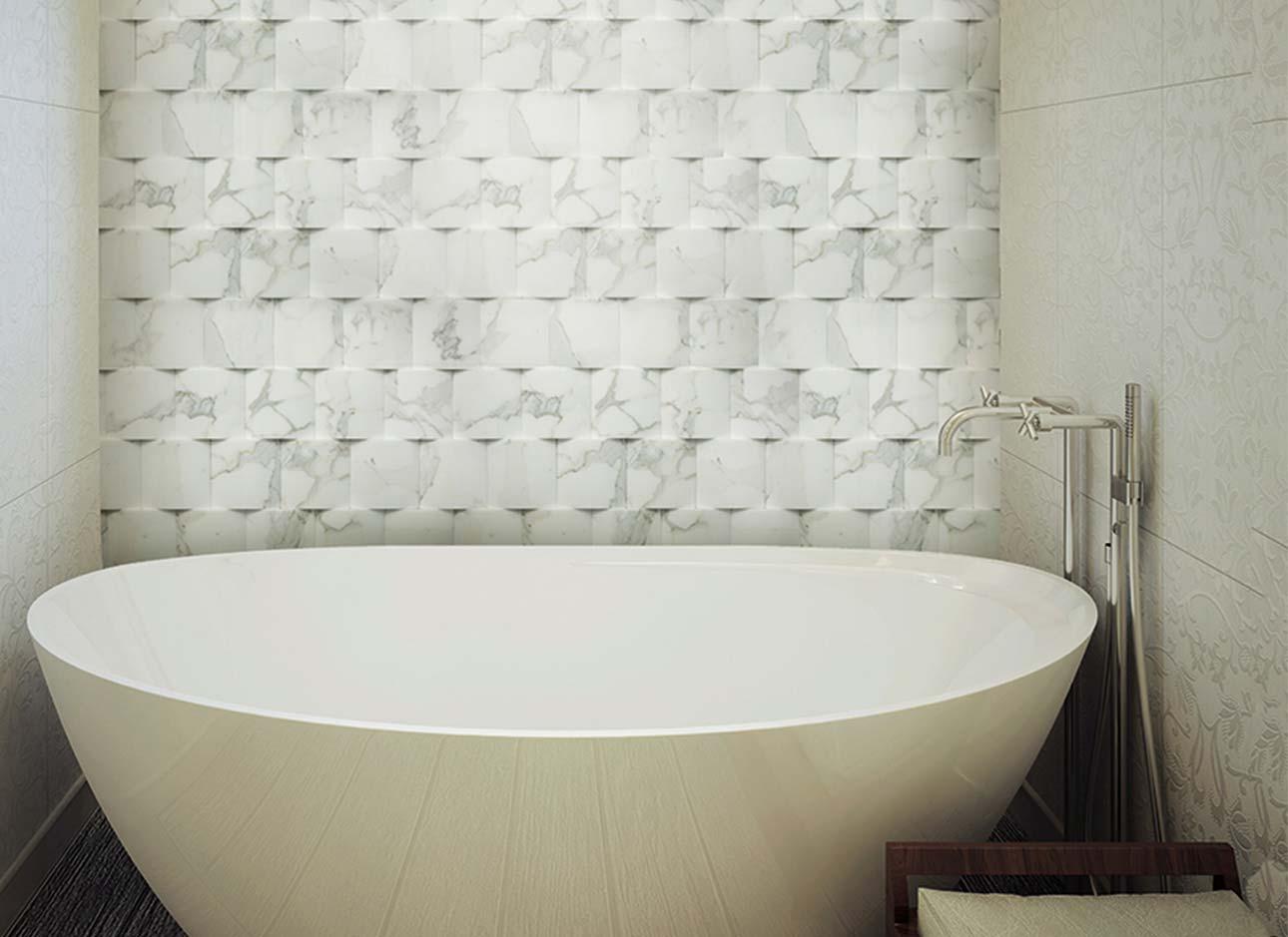 Realizzazioni in marmo pietra e travertino rielli - Rivestimento bagno marmo ...